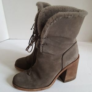 UGG Suede Sheepskin Block Heeled Ankle Boots 7.5